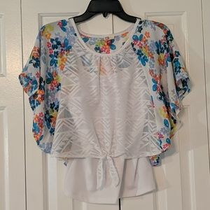 LEI girls flowery layered top with flared sleeves